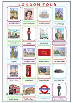 London Tour Picture Dictionary worksheet - Free ESL printable worksheets made by teachers English Primary School, English Classroom, Teaching English, English Day, Learn English, English Grammar Worksheets, English Vocabulary, Picture Dictionary, Budget Planer