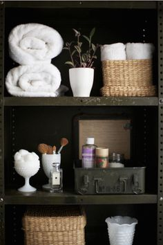 bathroom storage ideas - Re-organize your towels and toiletries during your next round of spring cleaning. Check out some of the best small bathroom storage ideas for Bathroom Organization, Bathroom Storage, Bathroom Interior, Bathroom Shelves, Organization Ideas, Organizing, Storage Ideas, Design Bathroom, Organized Bathroom