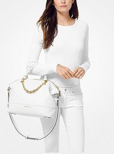 A Michael Kors handbag is not only a fashion statement, it is a perfect and practical accessory for any outfit. Leather Satchel, Pebbled Leather, Luxury Bags, Off Duty, Handbags Michael Kors, Glamour, Chic, Casual, Outfits