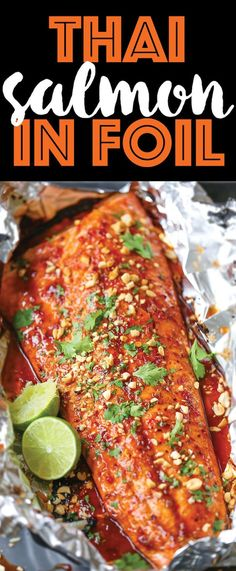 Thai Salmon in Foil - The flavors are sealed right into a foil packet with no clean up! The salmon comes out so tender/juicy. Sure to be a family favorite!