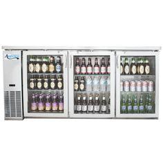 "Gameroom bar fridge  Avantco UBB-24-72GS 72"" Narrow Glass Door Stainless Steel Back Bar Cooler with LED Lighting"