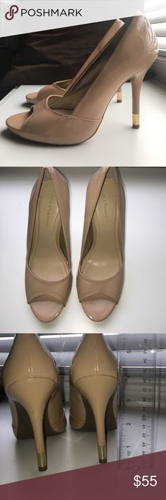 "BCBGeneration Nude Open Toe Heels Worn open toe BCBG heels! Super comfortable!!! Have a few scratches on heels. Heel height 4"". BCBGeneration Shoes Heels"