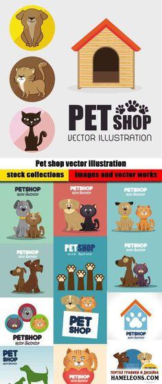 Зоомагазин - в векторе фоны с собаками, кошками   Pet shop vector illustration