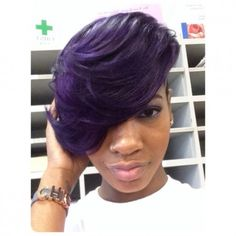 For the love of purple Shared by ScissorHappyChante - Black Hair Information Community Cute Hairstyles For Short Hair, Short Hair Cuts, Short Hair Styles, Pixie Cuts, Weave Hairstyles, Sassy Hair, Hair Laid, Hair Affair, Love Hair