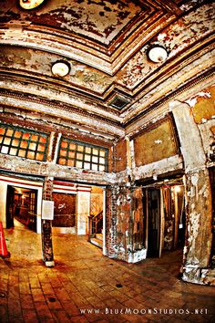 The crumbling but beautiful lobby of the  Lyric