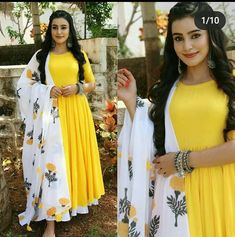 Indian Long Dress, Indian Dresses, Indian Outfits, Designer Party Wear Dresses, Indian Designer Outfits, Mehndi Dress For Bride, Anarkali Dress Pattern, Yellow Kurti, Simple Kurta Designs