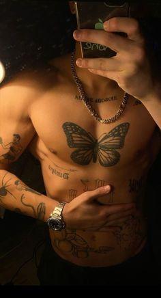 Funky Tattoos, Hot Guys Tattoos, Modern Tattoos, Small Tattoos For Guys, Boy Tattoos, Hair Tattoos, Torso Tattoos, Stomach Tattoos, Traditional Tattoo Man