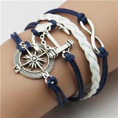 New Girl Jewelry trançado Vintage âncoras leme pulseira de couro de Metal multicamada pulseiras de corda envoltório pulseiras atacado Bangle em Pulseira com pingentes de Jóias no AliExpress.com   Alibaba Group