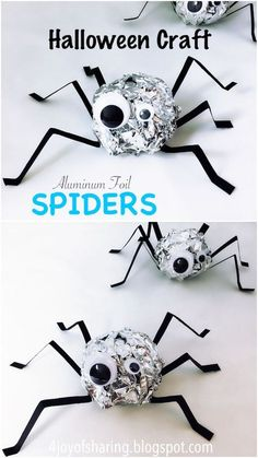 Fun Halloween Spider Craft for Kids. Spooky spider craft for Halloween. Such an easy and fun craft for kids made using aluminum foil and paper. Halloween Crafts For Toddlers, Halloween Activities, Fun Crafts For Kids, Diy Arts And Crafts, Toddler Crafts, Creative Crafts, Preschool Crafts, Kids Fun, Craft Activities