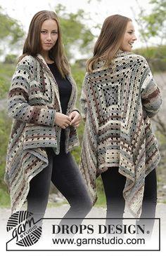 Ginevra - free crochet jacket pattern with charts by DROPS design. Cardigan Au Crochet, Crochet Jacket Pattern, Crochet Poncho Patterns, Crochet Shawl, Knit Crochet, Knitting Patterns, Ravelry Crochet, Crochet Granny, Free Knitting