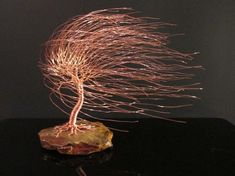 Copper Art Wire Tree Sculpture of Windswept Willow