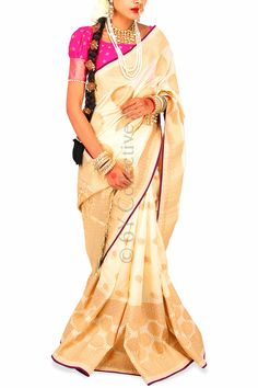 Mogra Brocade Sari with Pink (Code - S1711) Price: INR 6790 To shop visit: http://www.6ycollective.com/products/S1711/