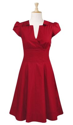 Surplice front cotton poplin dress - eShakti
