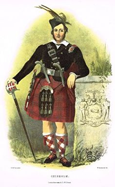 """Clans & Tartans of Scotland by McIan - """"CHISHOLM"""" - Lithograph -1988"""