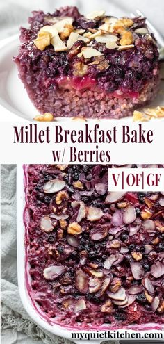 So easy to prepare this wholesome vegan breakfast bake is free from refined sugar gluten and oil. Made with millet nuts maple syrup and fresh or frozen berries. Vegan Breakfast Casserole, Healthy Vegan Breakfast, Breakfast Bake, Millet Recipes Breakfast, Clean Breakfast, Brunch Casserole, Casserole Recipes, Gourmet Recipes, Whole Food Recipes