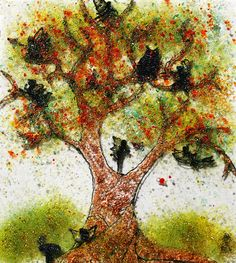 Fused glass fairy tree wall art, ArinnaGlass