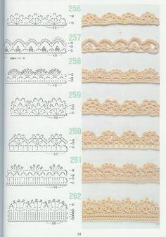free crochet patterns for crochet borders Crochet Edging Patterns, Crochet Lace Edging, Crochet Borders, Crochet Diagram, Crochet Chart, Crochet Designs, Lace Patterns, Crocheted Lace, Diagram Chart
