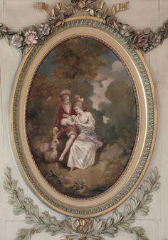 Antique Grand Louis XVI Painted Trumeau | Antique Details  | Inessa Stewart's Antiques