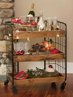Rustic Shelves: Astoria Wood Rolling Shelves - could easily be made