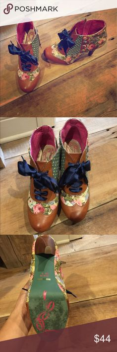 Irregular choice booties Defined a show stopper!!! Super cute floral/dot/ camel leather booties... perfect condition worn twice.. side zip closure with cute button detailing on the side irregular choice Shoes Heeled Boots