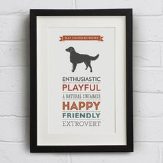 flat coated retriever dog breed traits print by well bred design | https://notonthehighstreet.com fashion women cheap shoes