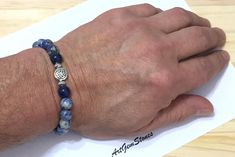 8mm Blue Sodalite Gemstones Celtic knot Stretch Handmade Bracelet, Healing Protection Meditation Chakra Yoga Mala Sagittarius Bracelet by ArtGemStones on Etsy