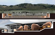 Antinori Winery: An Exemplary Merge of Architecture, Landscape and Class by Arch. - Antinori Winery: An Exemplary Merge of Architecture, Landscape and Class by Archea Associati Landscape Architecture Design, Facade Architecture, Winery Logo, Winery Tasting Room, Architectural Section, Unique Buildings, In Vino Veritas, Instagram Story Ideas, Interior Design
