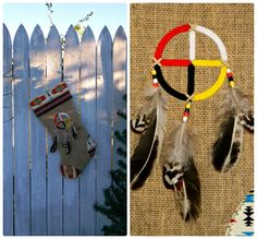 Tribal Medicine Wheel Christmas Stocking by AllasOriginals on Etsy