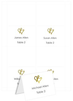 Printable Table Place Cards - Floating Heart Design