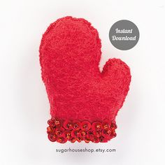 Christmas Mitten - Individual Ornament - Felt Advent Calendar - PDF Pattern, Instructions, & Stitch Guide