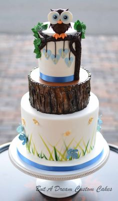 Woodland themed baby shower cake with owl.