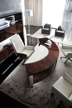 Luxurious office in lacquered wood Made Of Wood, Decoration, Office Desk, Dining Table, Shelves, Luxury, Furniture, Collection, Home Decor