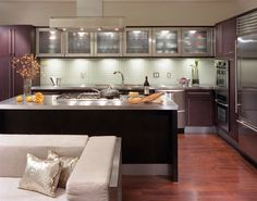 Open kitchen with glass cabinets
