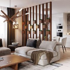 Wood Home Decor 2020 – What kind of wood is used for log homes? - Home Style Mid Century Modern Living Room, Living Room Modern, Home Living Room, Living Room Designs, Living Room Decor, Living Room Partition Design, Room Partition Designs, Living Room Divider, Wood Partition
