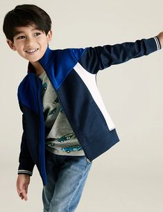 Cotton Zip Through Sweatshirt (2-7 Yrs) | M&S Indigo, Tricot Fabric, London Spring, 6 Years, Bomber Jacket, Sewing, Sweatshirts, Long Sleeve, Fitness