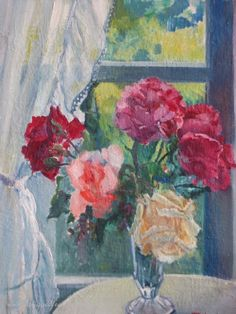 Vintage Oil on Canvas French Country Style Still Life of Vase of Roses Signed & Dated 1948 www.fatiguedfrenchfinds.com