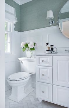 Blue Grasscloth Bathroom - this grass cloth would work well in home office; the floor tile might work in the master bath