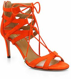 Aquazzura Beverly Hills Suede Lace-Up Sandals