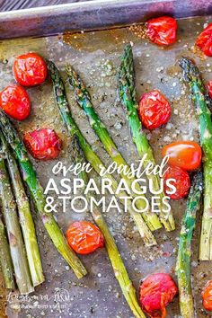 Oven roasted asparagus and tomatoes is a simple but flavorful side dish to throw together! Great flavor and texture throughout the whole dish. Side Dishes For Chicken, Veggie Side Dishes, Side Dish Recipes, Veggie Recipes, Veggie Food, Rice Recipes, Roasted Veggies In Oven, Oven Roasted Asparagus, Oven Roasted Tomatoes