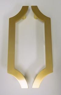 door pulls - satin brass | http://www.firstimpressionsint.com/contemporarydoorhandles.html