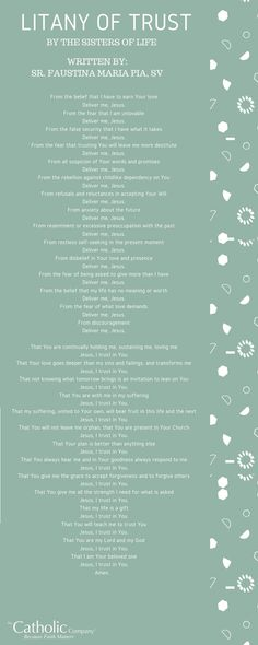 The Litany of Trust by the Sisters of Mercy // The Catholic Company