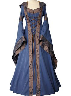 Indigo and bronze Medieval gown with hood by Dornbluth