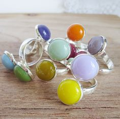fused glass wrap around rings. Pamela Angus