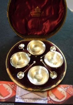 Search by seller - FineThings4sale - view our family estate items.  1889 CASED FANCY ENGLISH STERLING SILVER SALT CELLAR SETS BIRMINGHAM  HALLMARKS