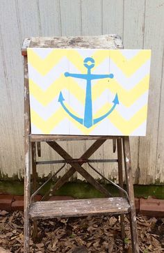 Anchor Pallet on Chevron Background. Hand painted your color choices!
