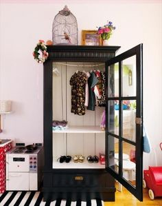 fantastic kids wardrobe idea - recycle old furniture, very chic #kidsroom
