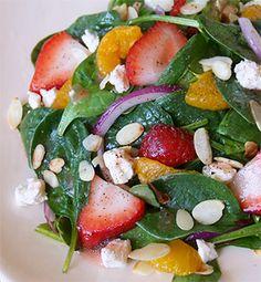 Strawberry Mandarin Orange Spinach Salad with Ken's Lite Strawberry Vinaigrette - Recipe