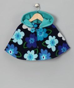 Flower Power Turquoise Hooded Poncho by SewDarnQuilt on Etsy, $28.00