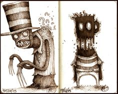 Series of quick concepts made with Sepia Pens on cm Scary Drawings, Cartoon Drawings, Cartoon Art, Cartoon Monsters, Monster Sketch, Monster Art, Ink Pen Art, Ink Pen Drawings, Horror Drawing