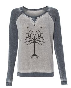 Lord of the Rings Tree of Gondor super soft burnout style womens pullover sweatshirt ladies girls #reeofgondor